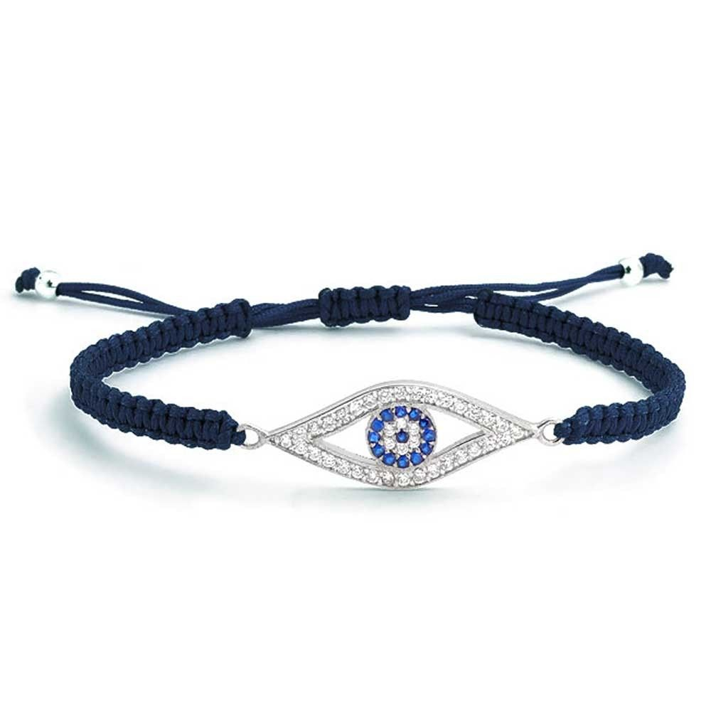 Blue Evil Eye Cz Bracelet Shamballa Inspired Sterling Silver Bling Jewelry