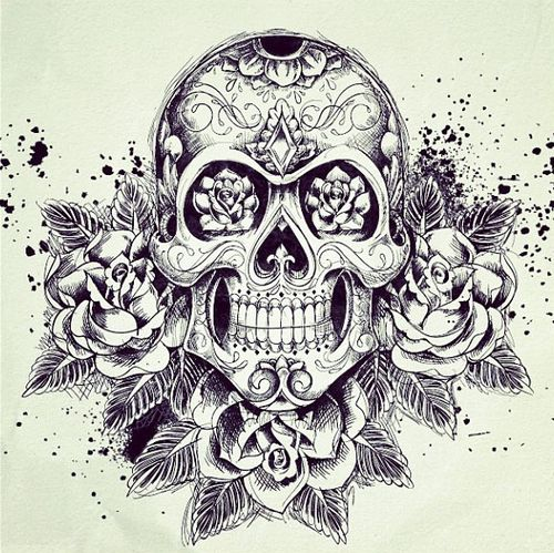 Sugar Skull w/ Roses Tattoo | tattoos | Pinterest | Sugar ...