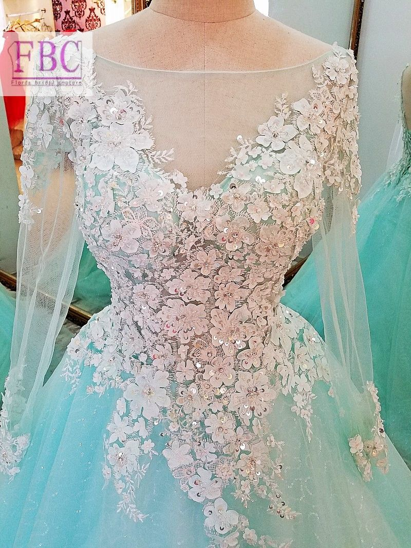 real picture mint ball gown prom dresses sheer long sleeve