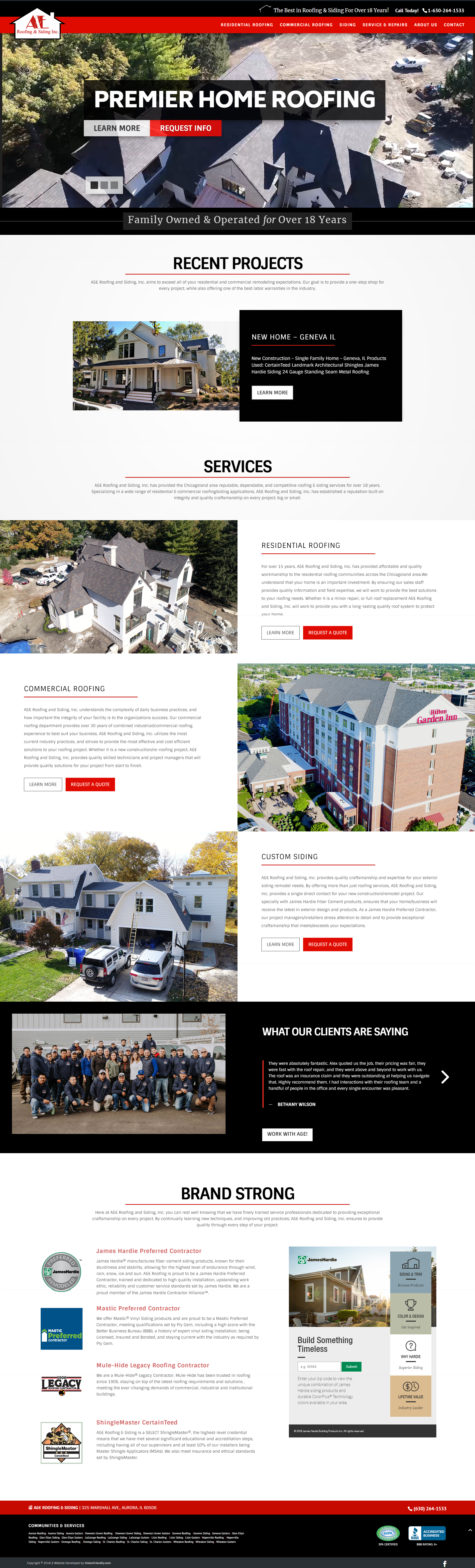 Website Design For A E Roofing Siding By Visionfriendly Com Fullwidth Responsive Industrial Webdesign Webdevelopment Roofing Digital Design Web Design