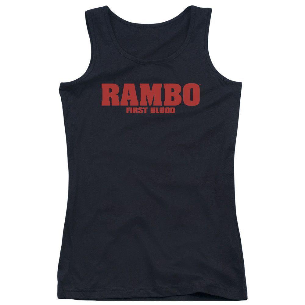 RAMBO:FIRST BLOOD/LOGO - JUNIORS TANK TOP - BLACK -