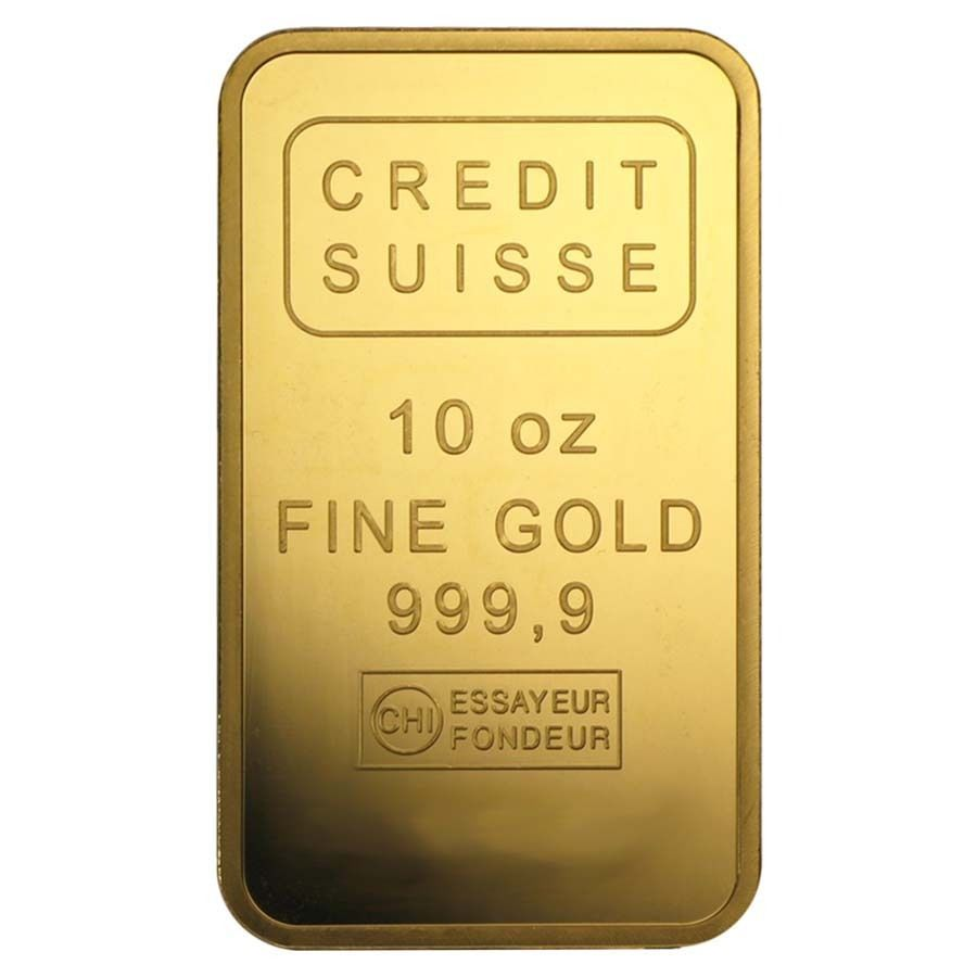 10 Oz Credit Suisse Gold Bar 9999 Fine W Assay Credit Suisse Buy Gold And Silver Gold Bullion Bars