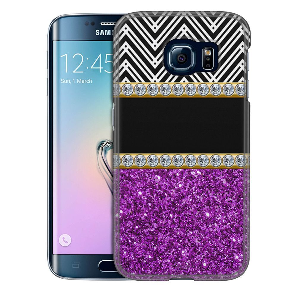 Samsung Galaxy S6 Edge Glitter Purple with Diamonds Slim Case