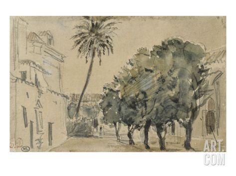 Place San Lorenzo à Séville Giclee Print by Eugene Delacroix at Art.com