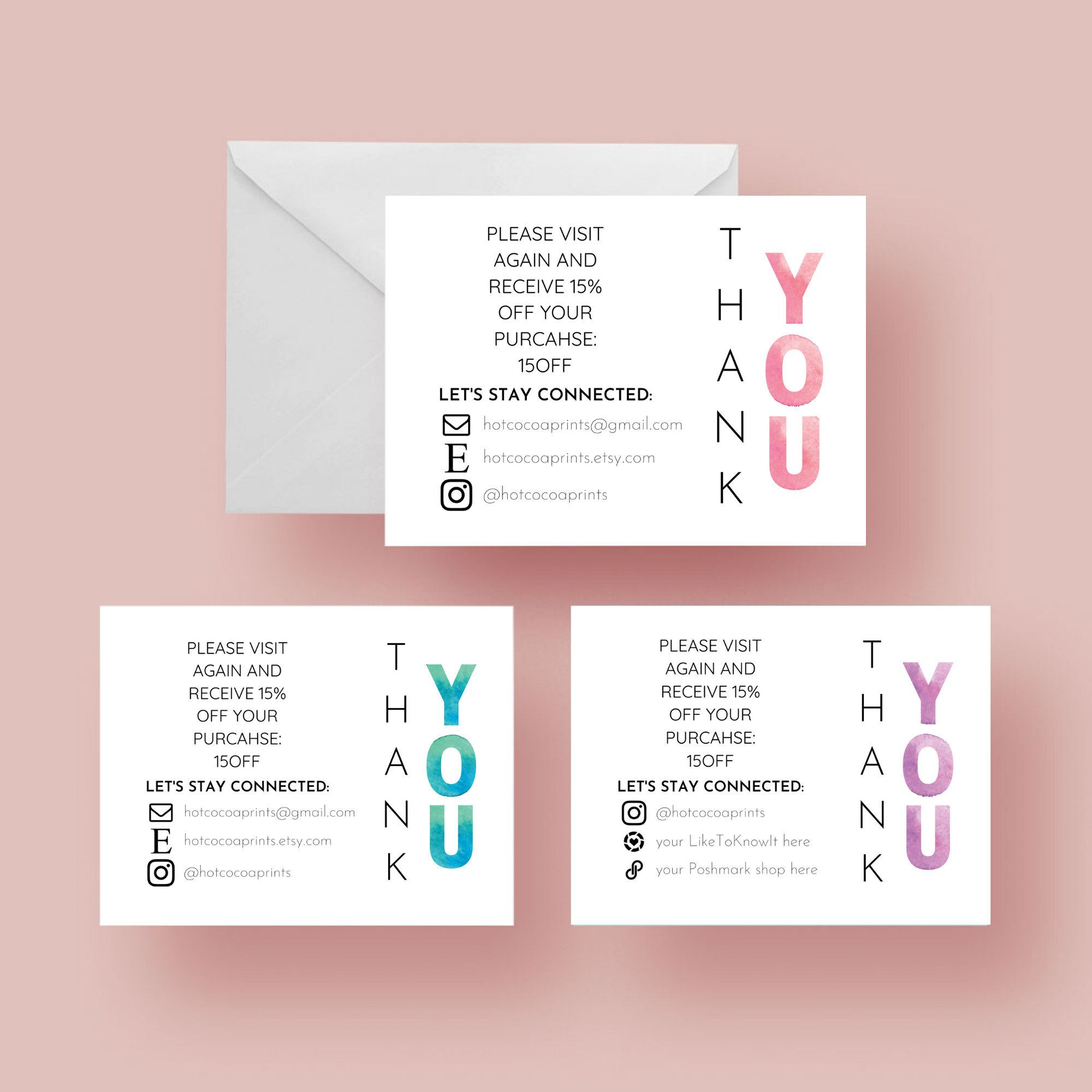 Thank You Small Business Card, Set of 4 DIY Printable's