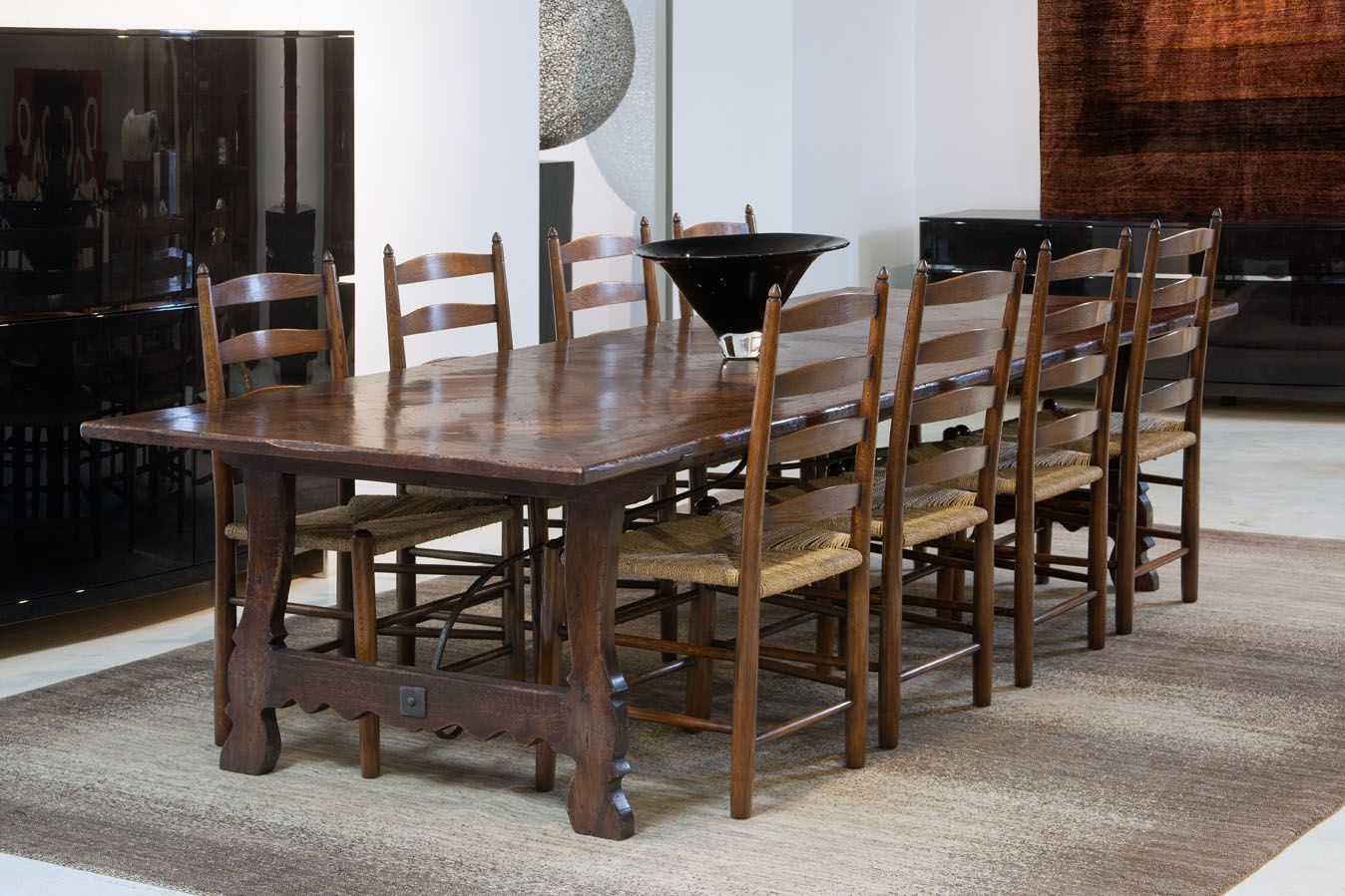 Ladderback Chairs With Spanish Parquetry Table French Oak Chairs