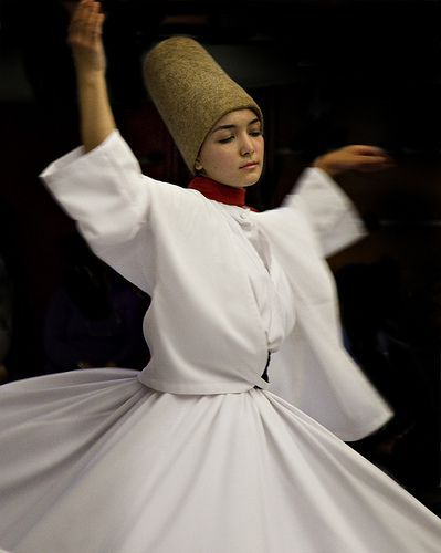 """Prayer and Meditation in Motion: The Whirling Dervish spins and prays, chanting the name of God within, seeking communion with God, turning her right hand to sky and turns her left hand to ground. """"We give the people, that we have received from God."""""""