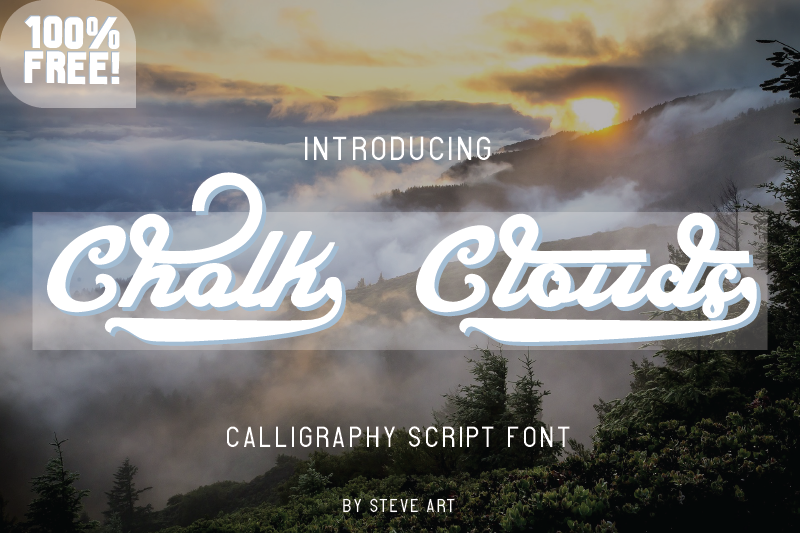 Download New free font 'Chalk Clouds' by SushiHueDesign · Free for ...