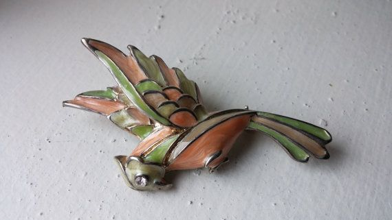 Olive green and peach vintage colors parrot by VintageInspiredNow