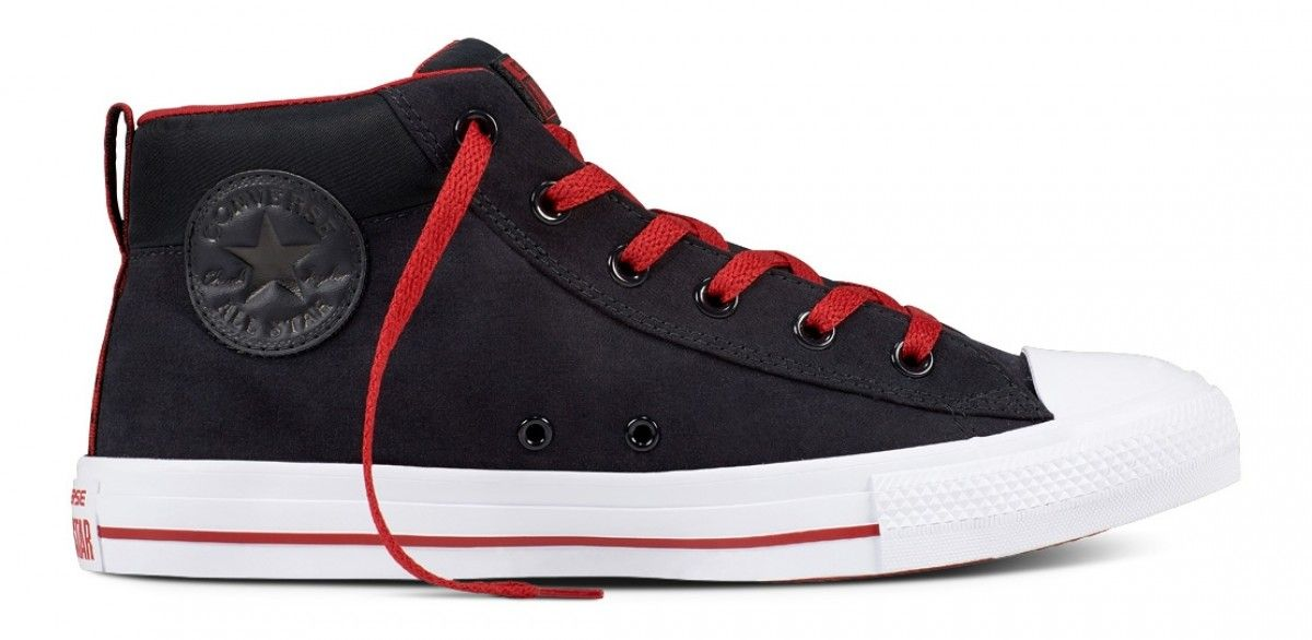 dea88e8778534a Converse Chuck Taylor All Star Street Mid Black Gym Red White ...