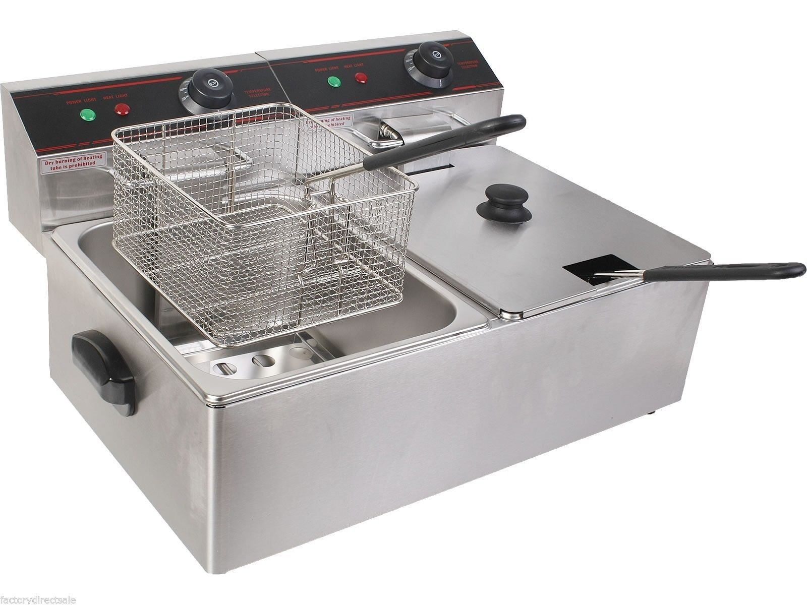 5000w Dual Tank Electric Countertop Deep Fryer Commercial