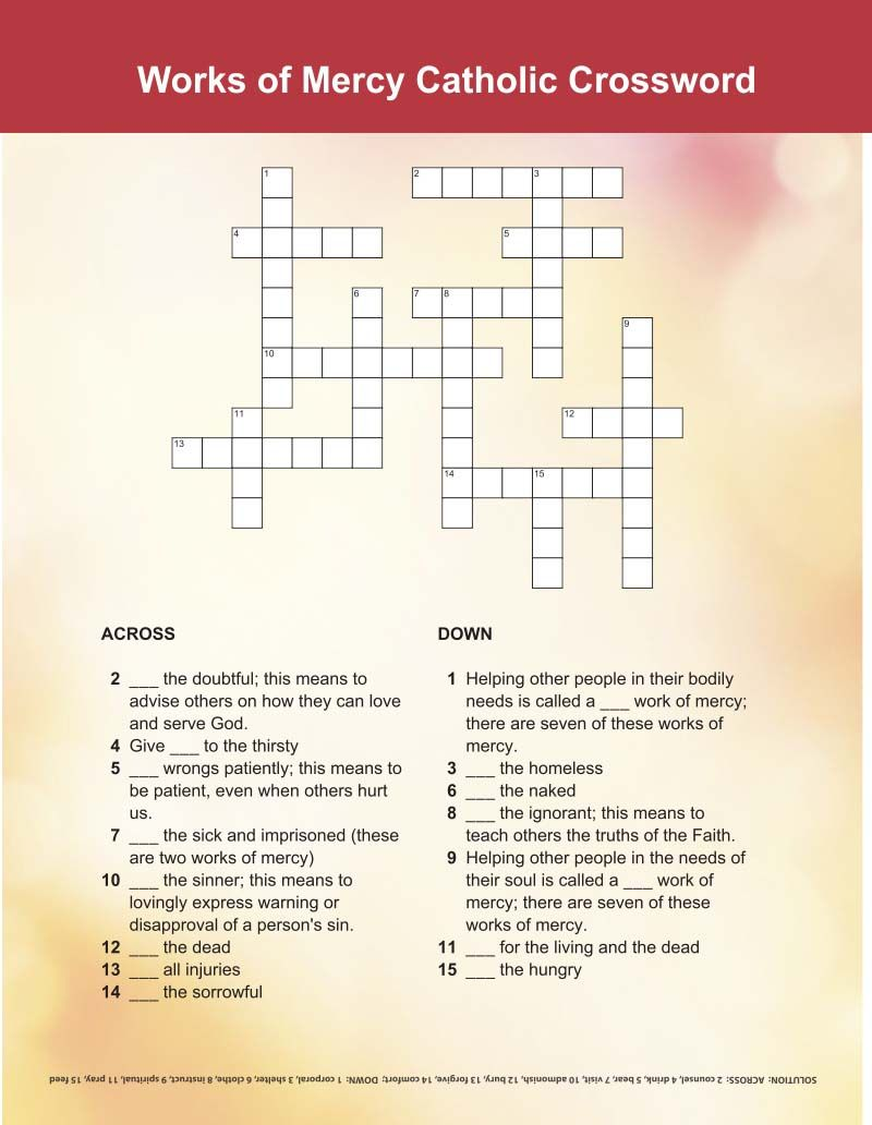 works of mercy crossword - | printable activities for kids