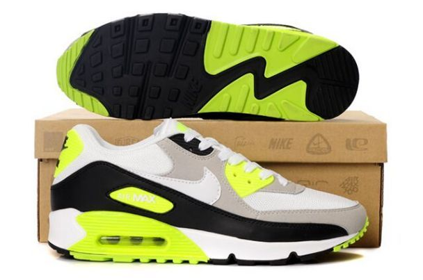 the latest c3fcf cb54e Nike Air Max 90 Homme Blanc Gris Noir Volt - €64.00