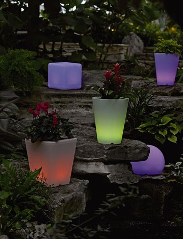 Solar Illuminated Planter Small Round Gardener S Supply In 2020 Planters Garden Supplies Backyard Design