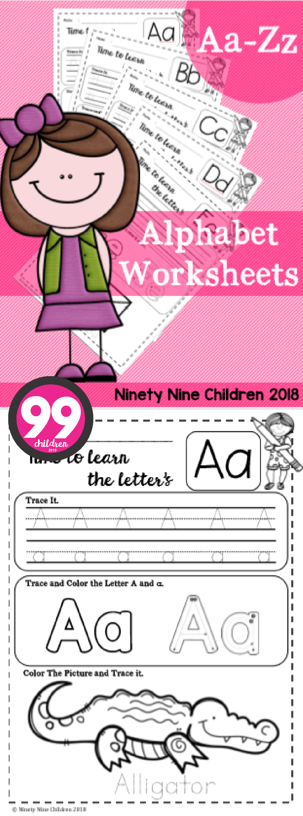 Free Alphabet Worksheets ( Trace and Color ) | Ninety Nine Children ...