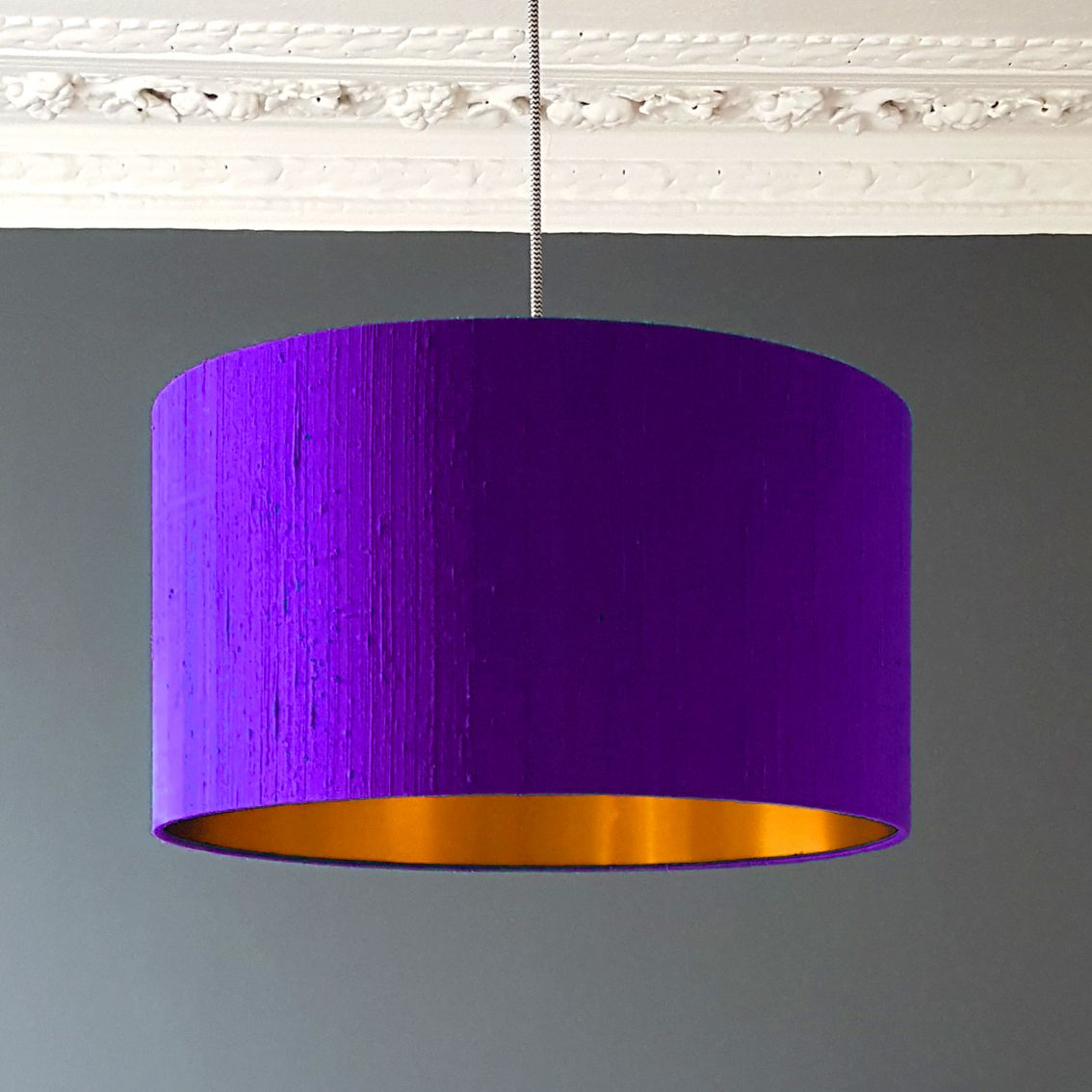 Indian Silk Dupion Lampshade With Gold Lining In Indigo