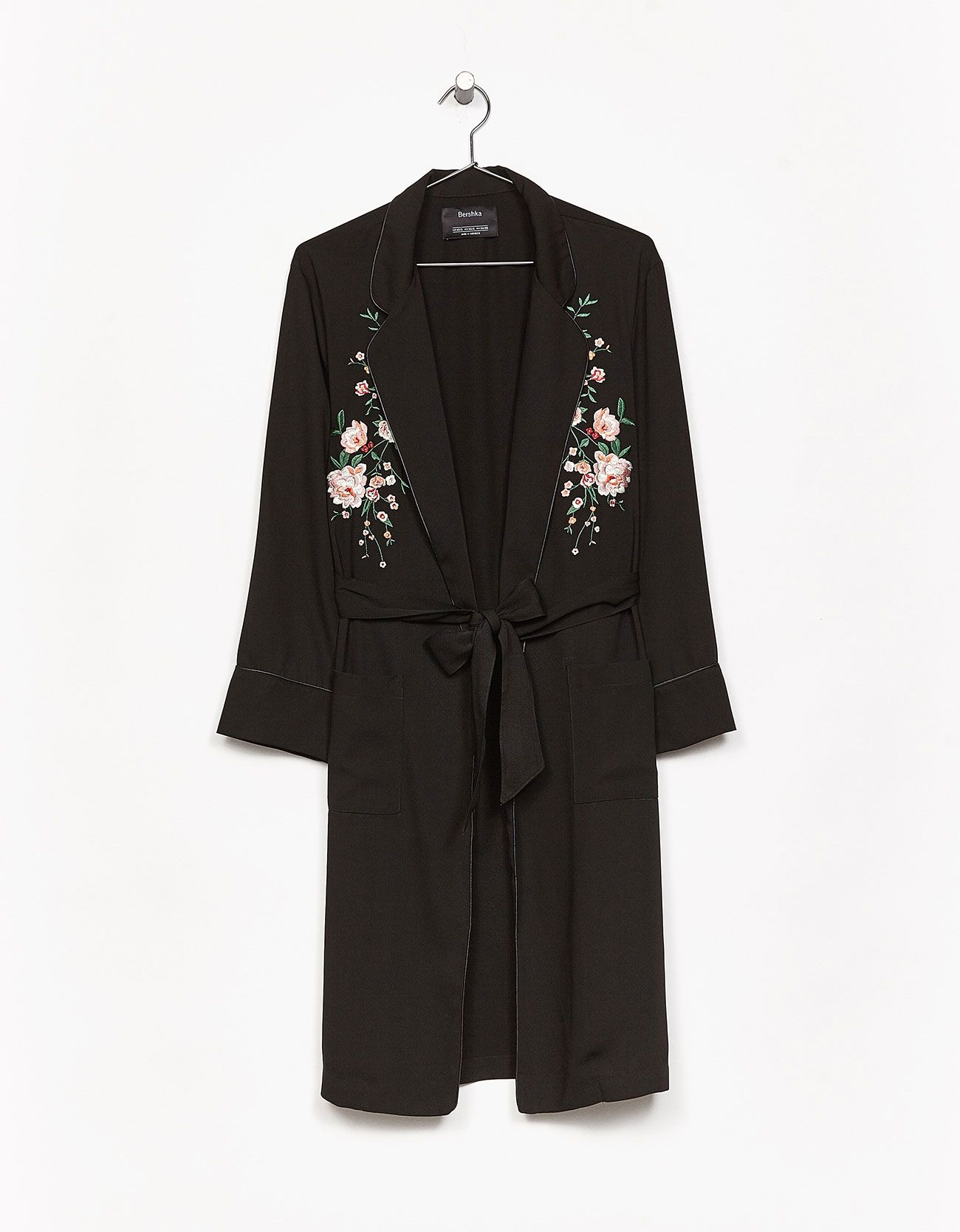Long dressing gown with floral embroidery and belt. Discover this ...