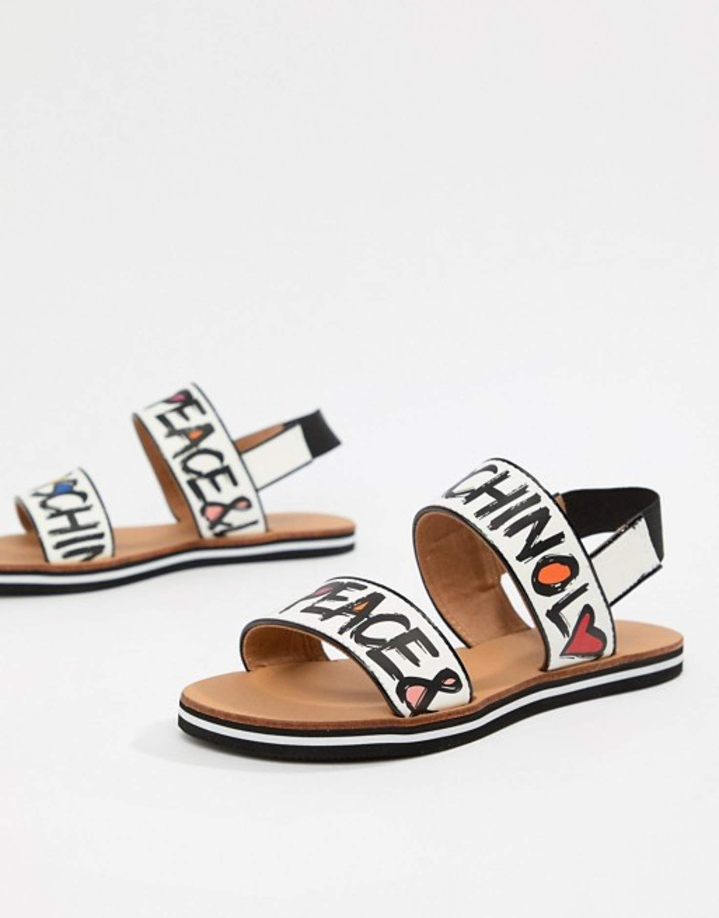 Love moschino graffiti slogan sandal at asos com