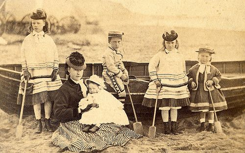 A Victorian family on the beach, ca 1880s