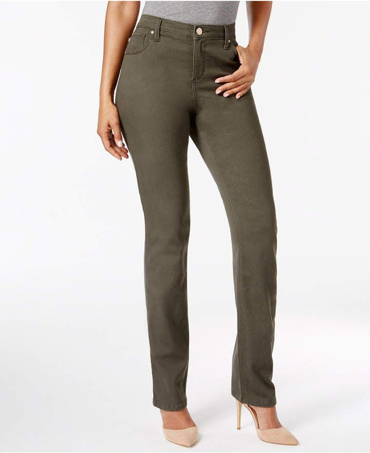 3a5fefed Lee Platinum Gwen Straight-Leg Jeans, Created for Macy's - Green 2S ...
