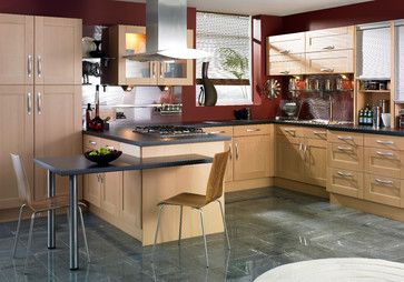 Like The Maple Cabinets With Metal Pulls And Gray Tile Floors May