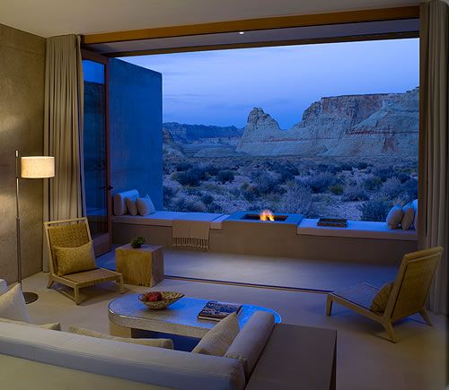 Lake Powell-- Amangiri Resort and Spa   (The Lake's around here somewhere, I'm sure...but imagine opening up your window and seeing that view).