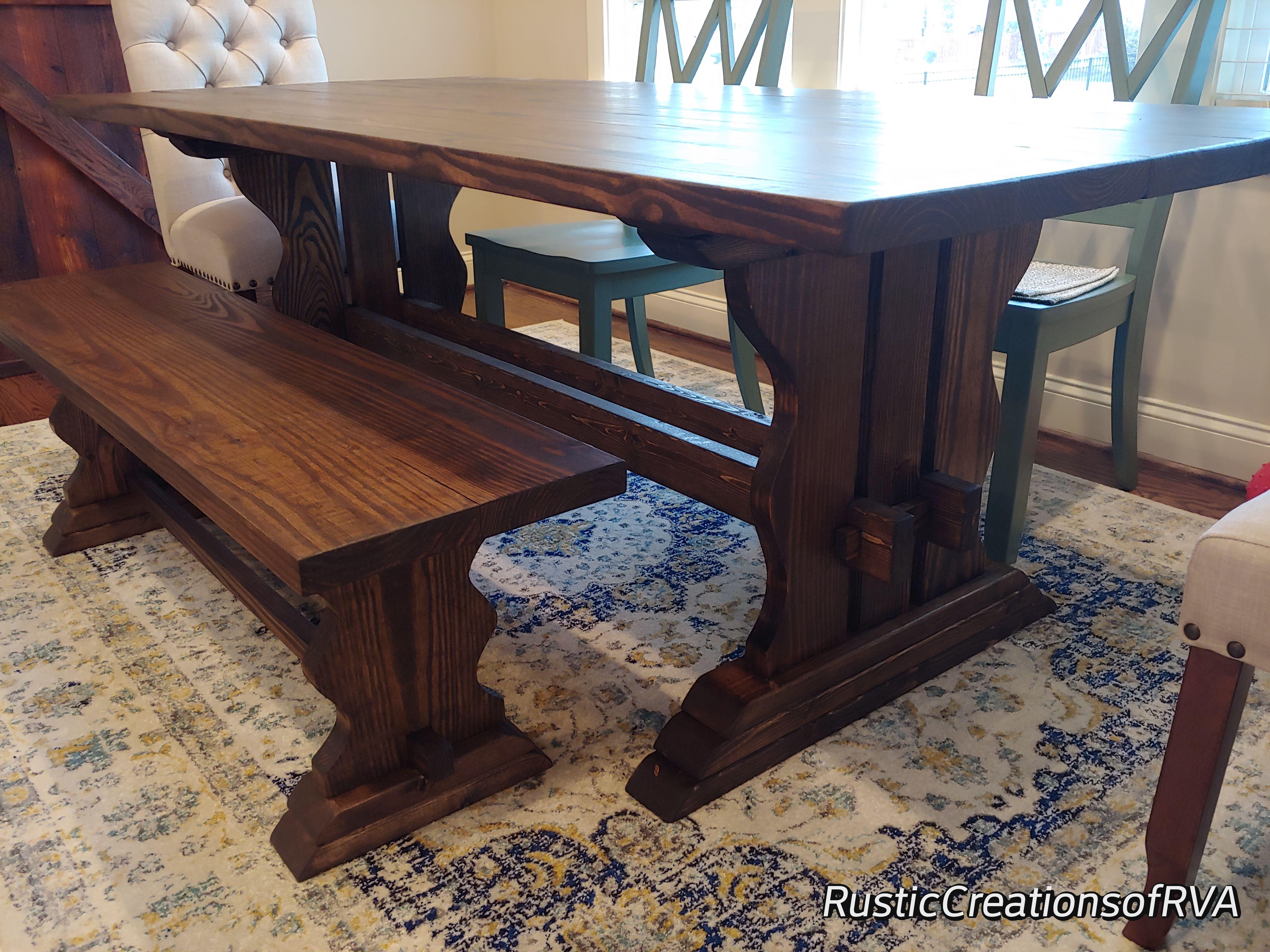 7ft Farmhouse Table W Bench Www Facebook Com Rusticcreationsofrva