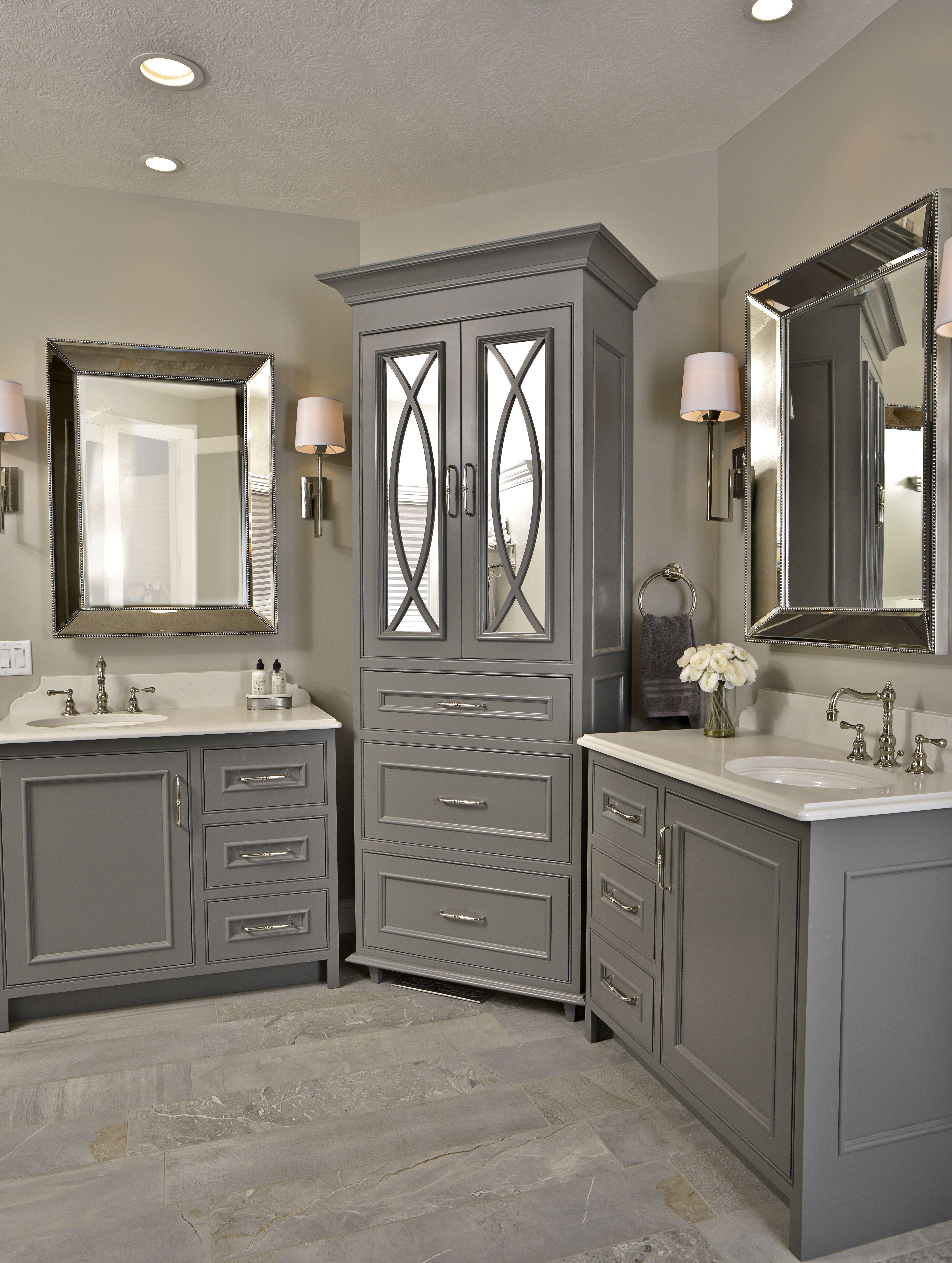 Beautiful Bathroom Gauntlet Gray Cabinets Master Bath Two Vanities Mirrored Bathroom Corner Bathroom Vanity Bathroom Remodel Master Bathroom Corner Cabinet
