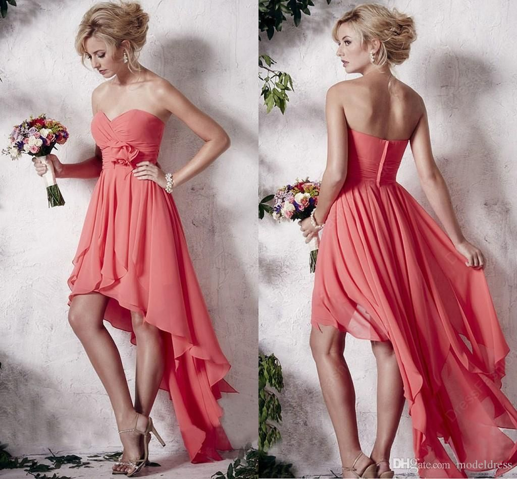 New High Low Cheap Beach Bridesmaid Dresses 2016 Sweetheart Pleats ...