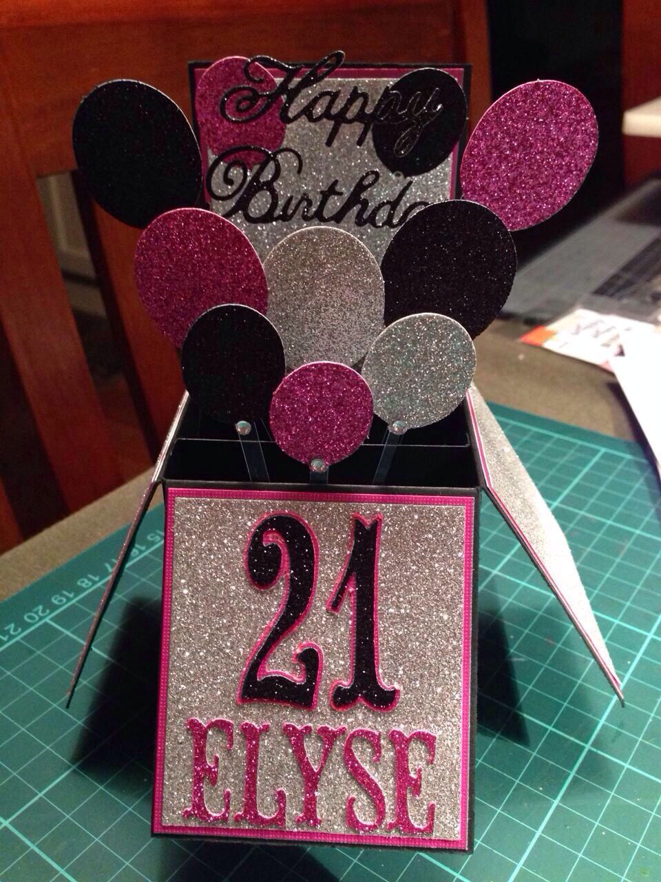 21st birthday card in a box, pop up card … Boxed
