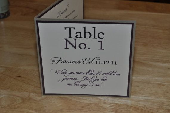 Wedding Menu and Table Number All In One Sample. $8.25, via Etsy. - cool idea