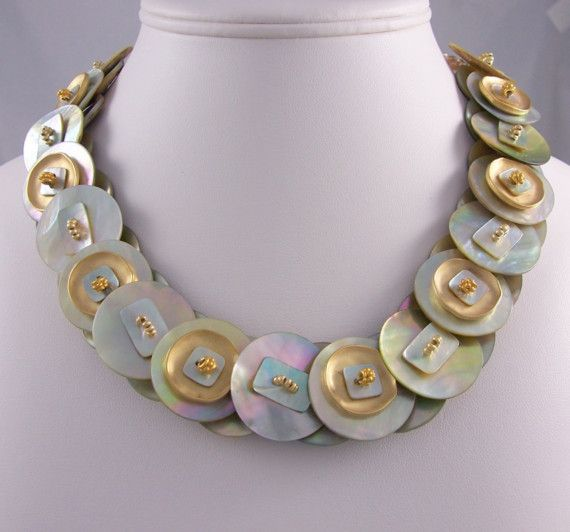 Matte Gold And Mother Of Pearl Shell Button Necklace
