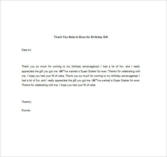 Thank You Note Boss Free Word Excel Pdf Format Download Sample
