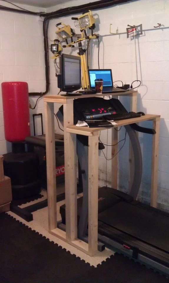 diy treadmill desk and put a speed bag above it too exercise rh pinterest com Build Your Own Treadmill Workstation diy standing desk treadmill