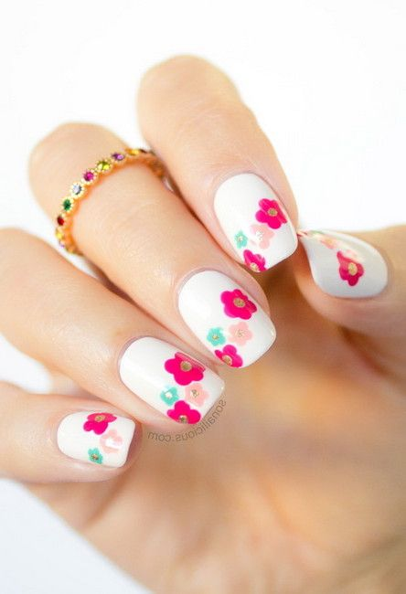 Simple Spring Nail Art White Polish Base With Flower Nile