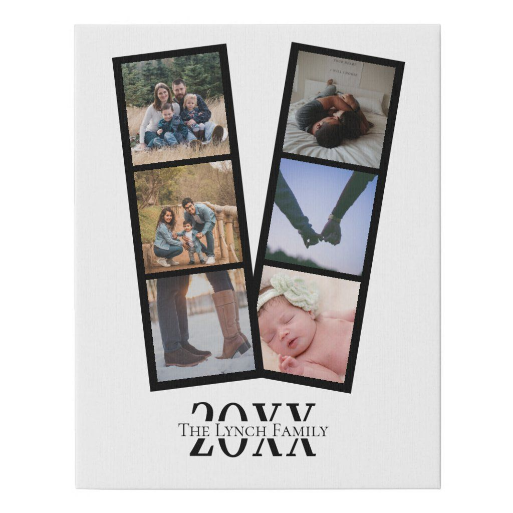 Personalized Photo keepsake wall art - Faux Wrapped Canvas Print from Ricaso - add your own photos and text - photo collage keepsake gifts