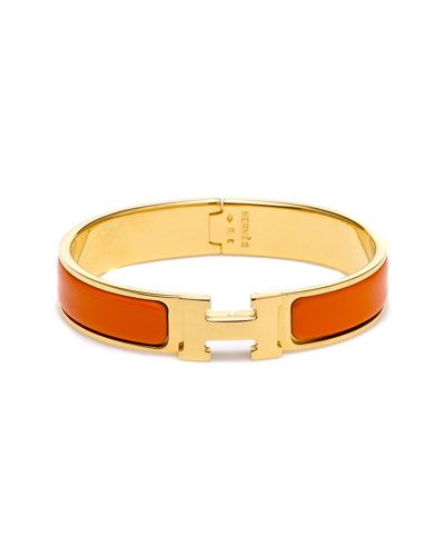 Hermes Clic Clac H Orange Narrow Enamel Bracelet Pm