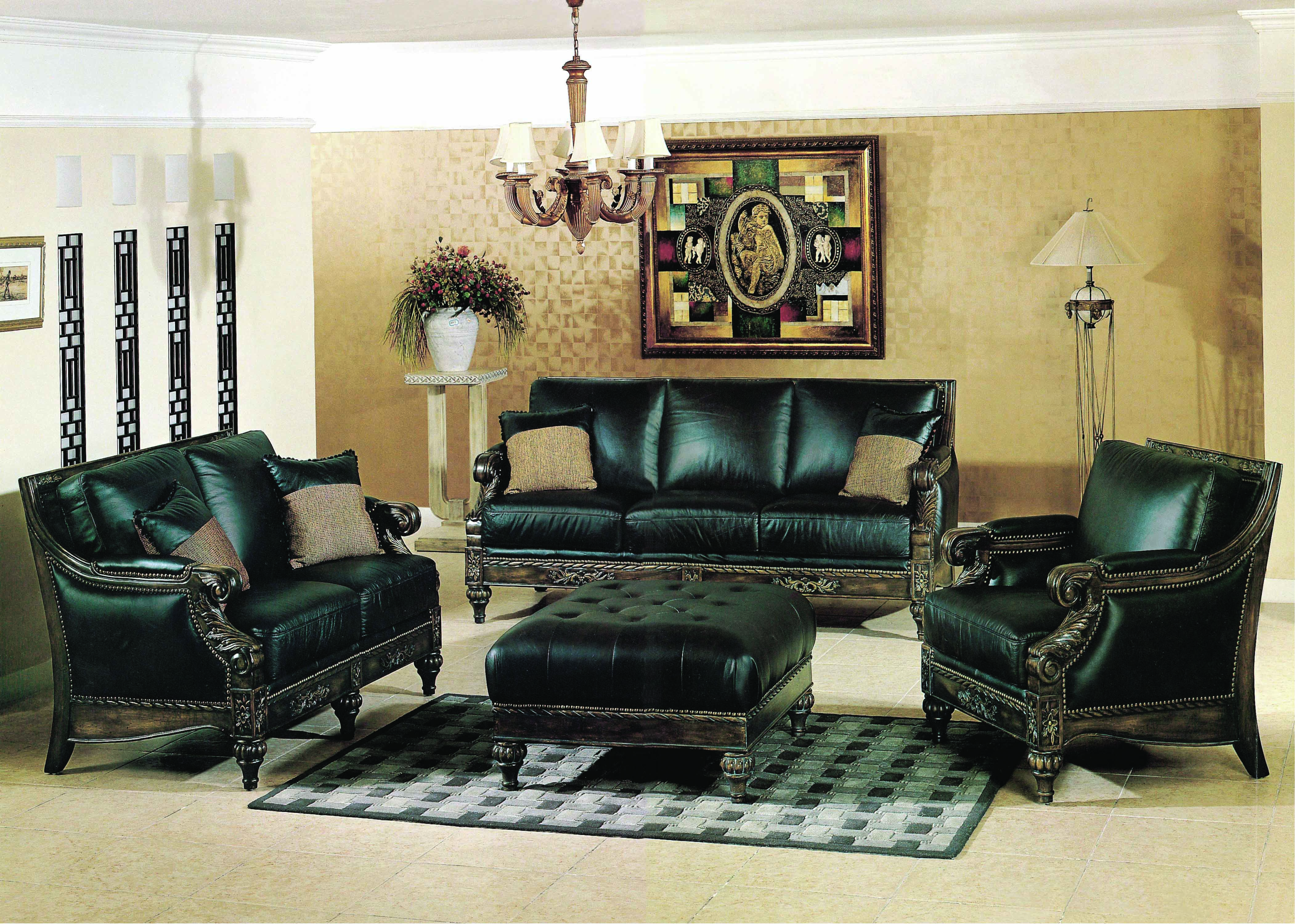 Manhattan Leather Sofa Loveseat Living Room Sets Furniture