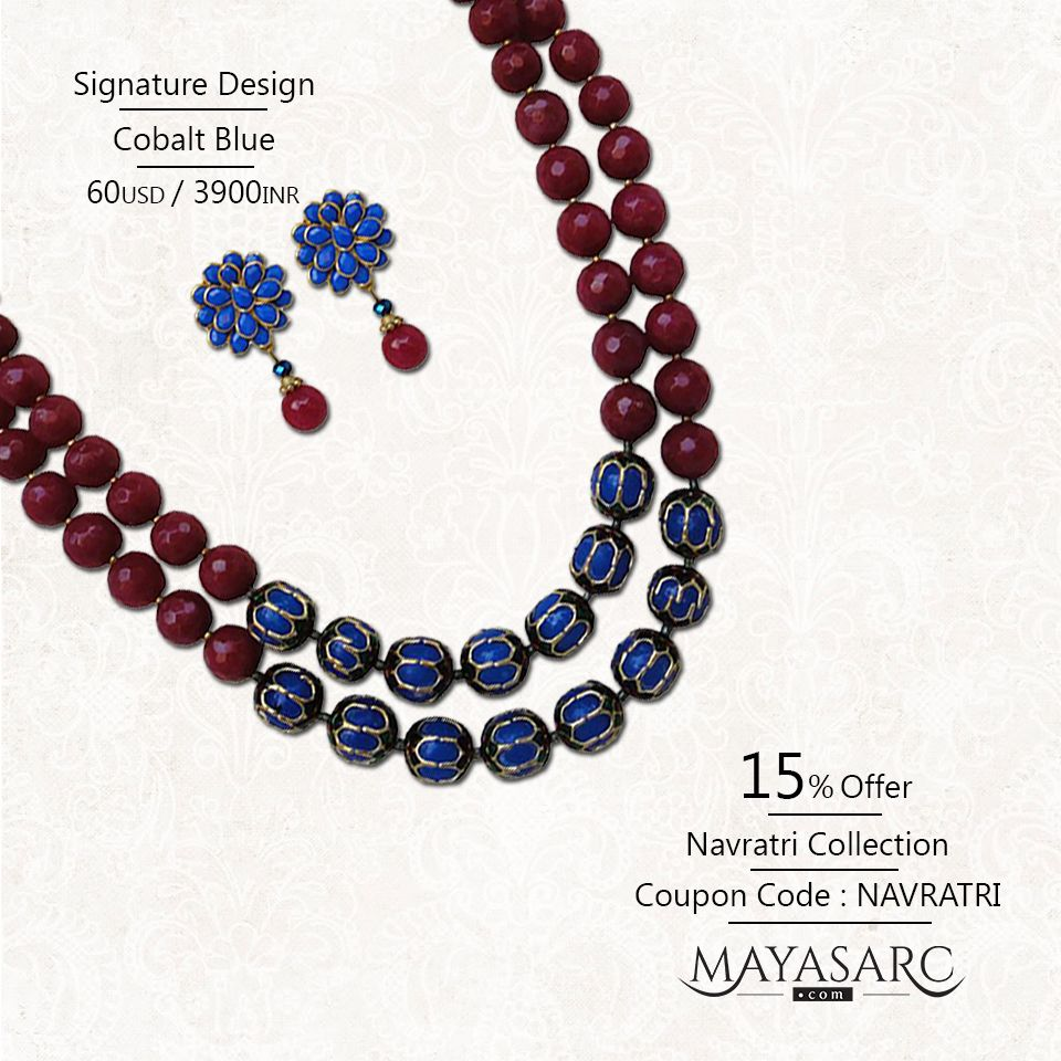 #Navratri Collection - Twin strands Agates with centre focal #Jaipur #beads @ #BigBillionDays https://www.mayasarc.com/product/maya-s-arc-necklace-set-twin-trend-cobalt-blue-ruby-pink/2278-2292?utm_content=buffere7265&utm_medium=social&utm_source=pinterest.com&utm_campaign=buffer