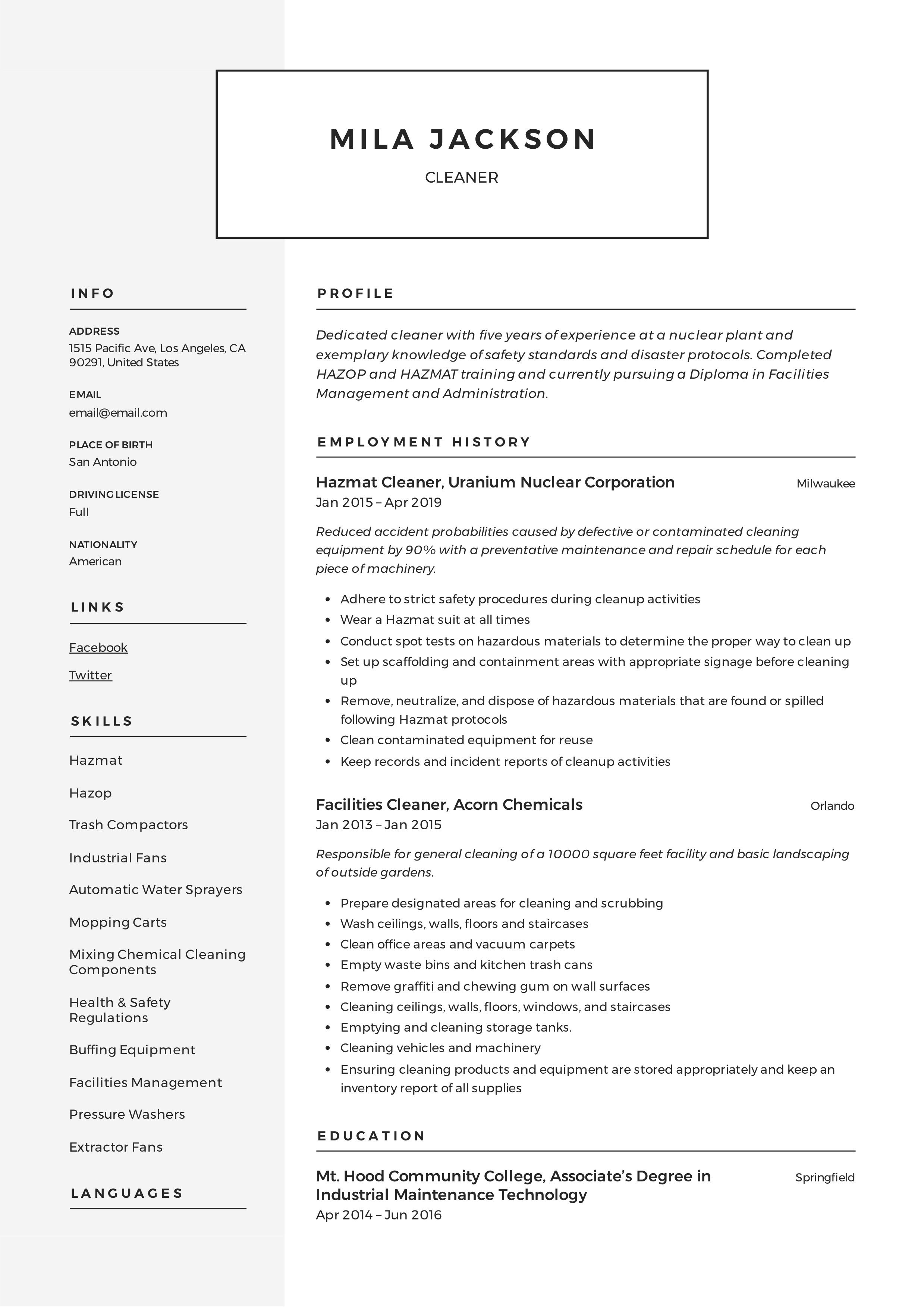 Cleaner resume template in 2020 resume writing
