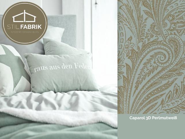 Farb Stilkonzept Rasch Textil Vision 022859 Grün Grau Gold Silber Ornament