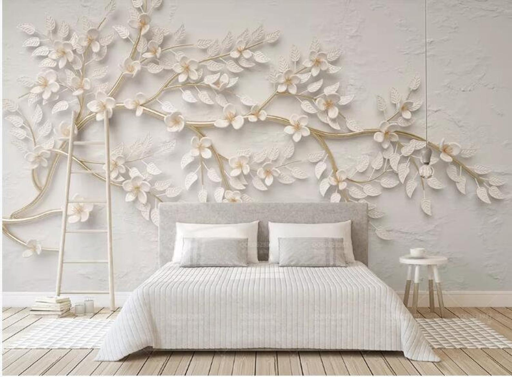 3d Beautiful White Cherry Flowers Floral Wallpaper Wall Mural Etsy Wall Wallpaper Wall Murals Tree Wallpaper