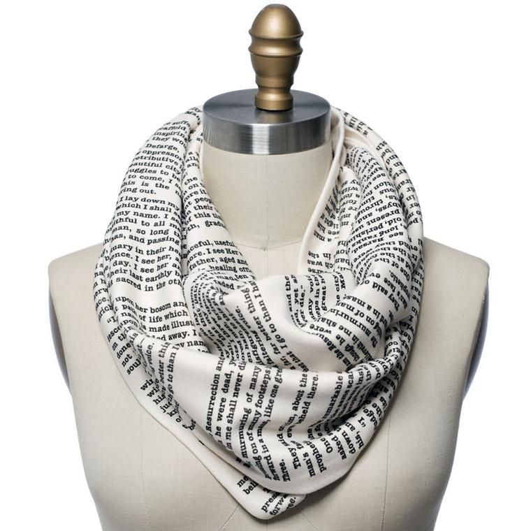 $48 Book Scarf | Tale of Two Cities | Alice in Wonderland | Dracula | Frankenstein | Hamlet | I carry your heart | Jane Eyre | Les Miserables | Little Women