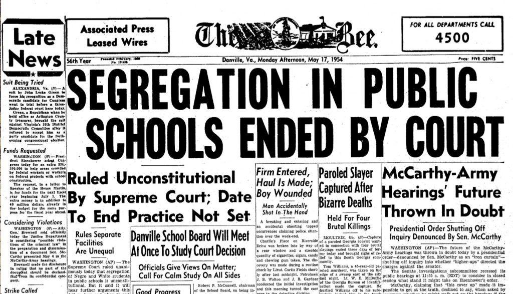 El caso judicial que revoco a Plessy v Ferguson que permitia la segregacion en las escuelas publicas. Dado por un blog. Demuestra la evolucion del sistema educativa en EEUU. (foto)