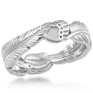 This organic wedding ring has two eagle feathers and two bear claws