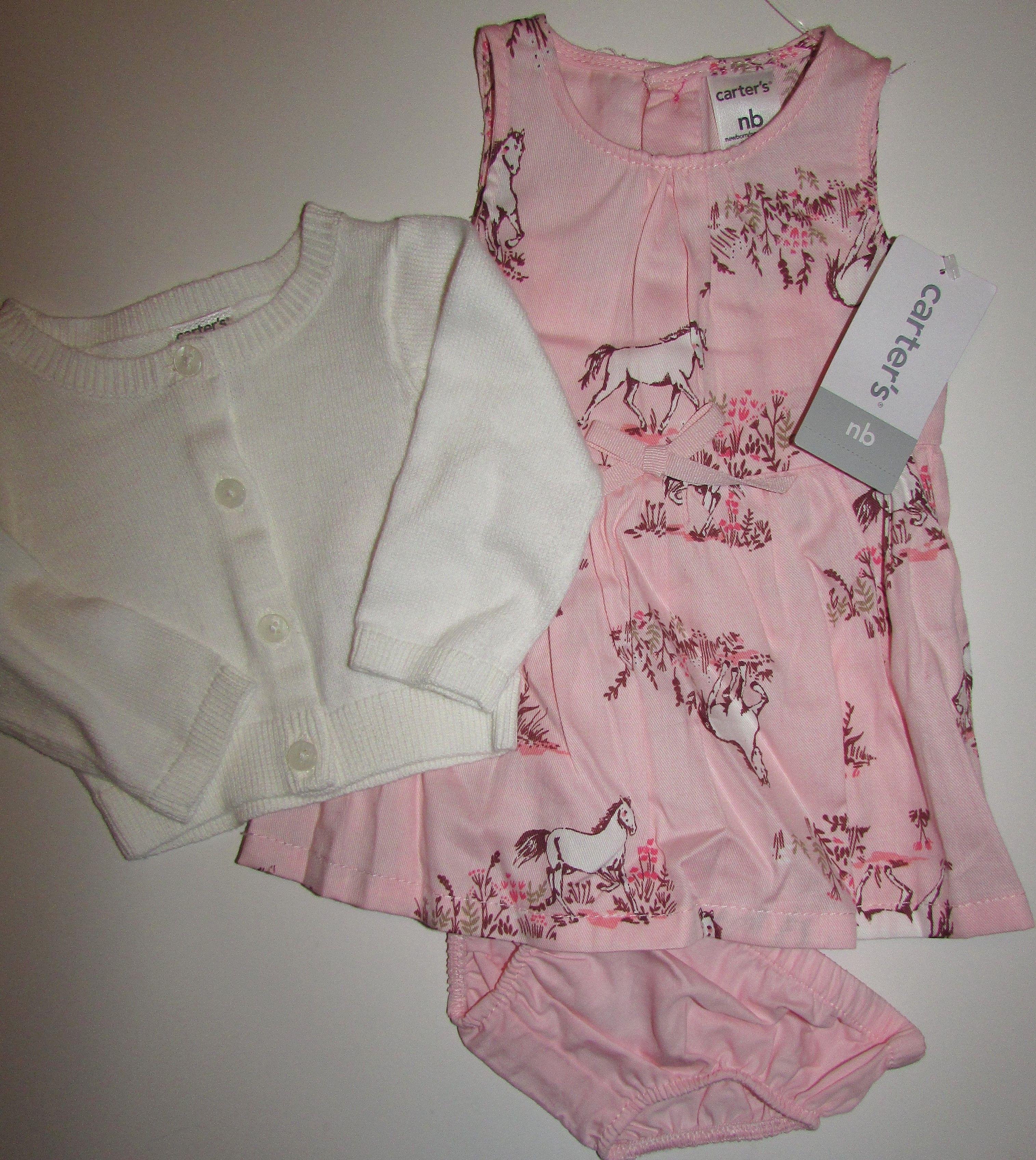 Carters 3 pc dress set pink ponies size N