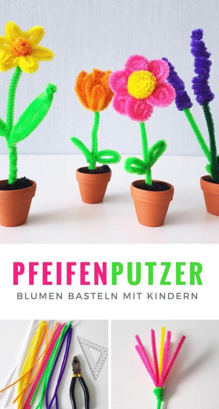 Pfeifenputzer Blumen basteln: Einfache DIY Anleitung für Kinder #makeflowers