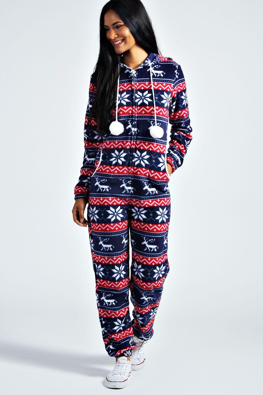 Faith Hooded Pom Pom Onesie Boohoo Night Wear And Pyjamas