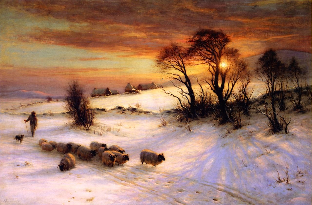 Image result for paintings winter sunset joseph farquharson