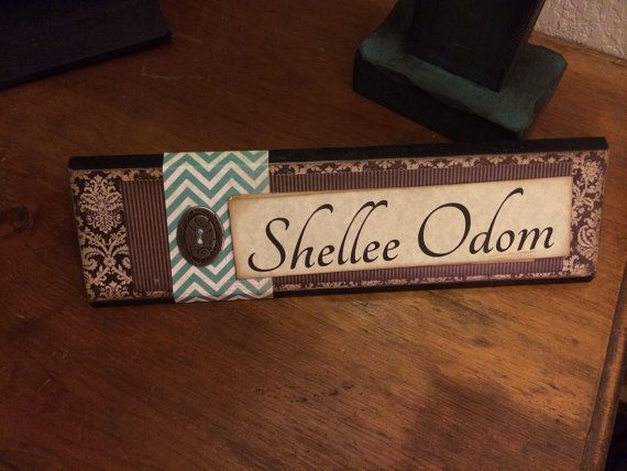 Unique Wooden Office Desk Name Plate Plaque By Shelleeodom Personalized Desk Name Plate Desk Name Plates Office Desk Name Plates